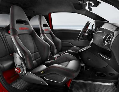 """Lightweight """"Abarth Corsa by Sabelt"""" seats are fitted and finished in black leather with a carbon-fibre shell and seat base"""