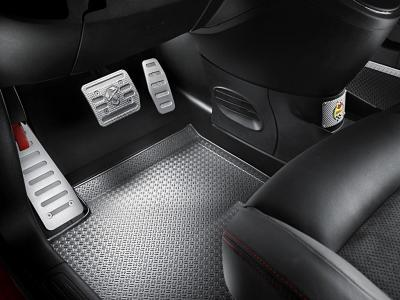 Racing pedals are personalised with Abarth's Scorpion logo
